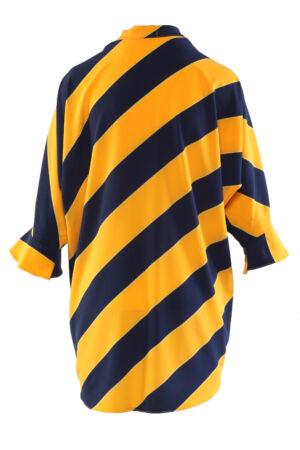 Lebegős, nyakbaálló blúz - kék/sárga átlós csíkos
