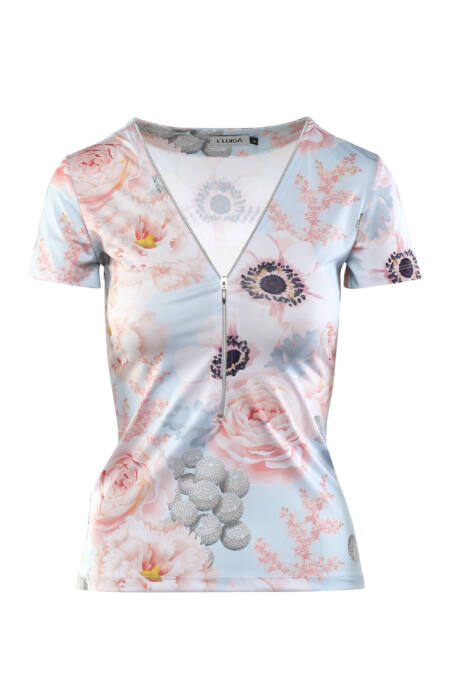 Cippes dekoltázsú póló - Virágmintás