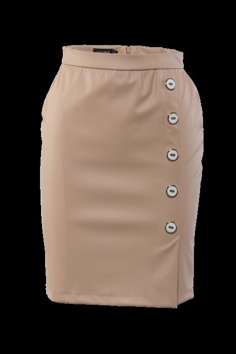 5 gombos textilbőr szoknya - Bézs