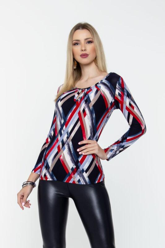 Reni póló - piros/kék mintás