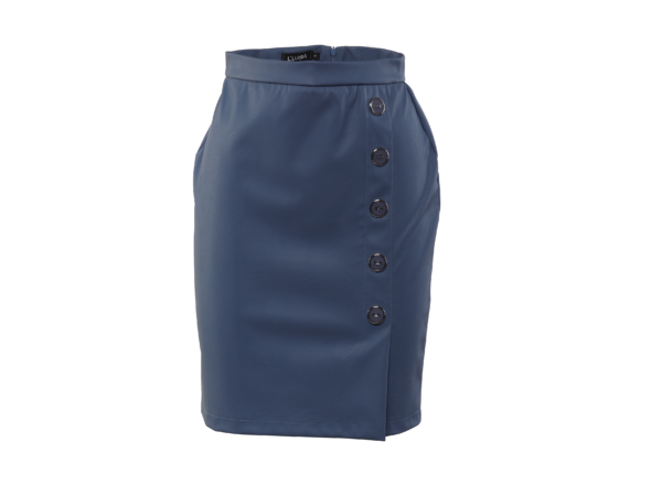 5 gombos textilbőr szoknya - Kék