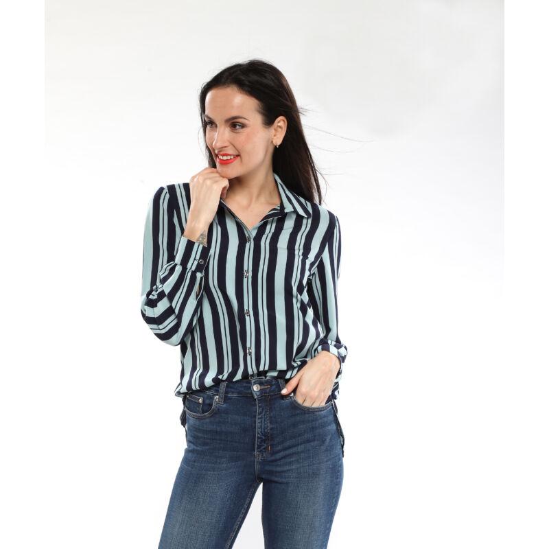 Csíkos női ing - kék/zöld
