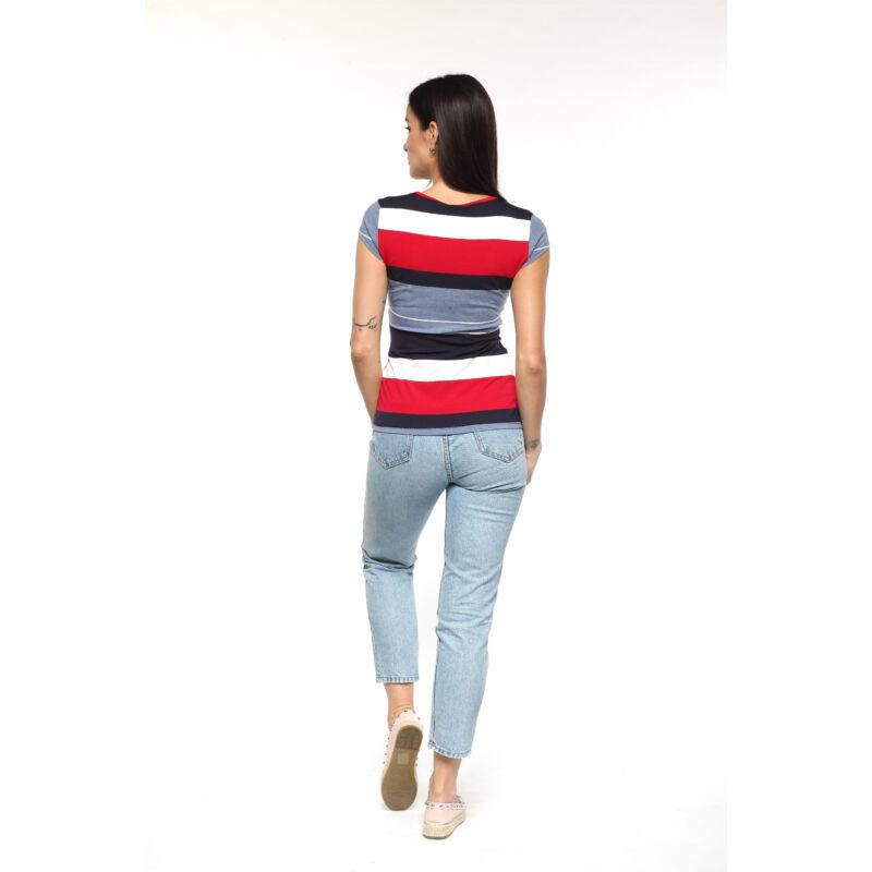 Színes csíkos póló - piros, fehér, kék
