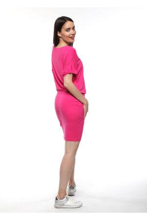 Laza zsebes ruha, derekán megkötővel - pink