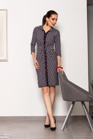 Héra ruha - sötétkék/piros/fehér mintás