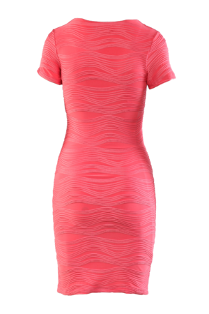 V dekoltázsú rövidujjú ruha - Rózsaszín